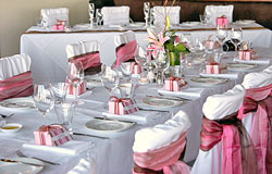 Bridal Table with place settings at Wedding Reception